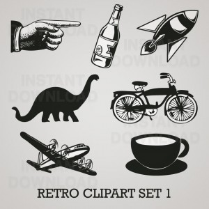 Retro Clip Art Set 01, retro vectors, retro clip art, 09931