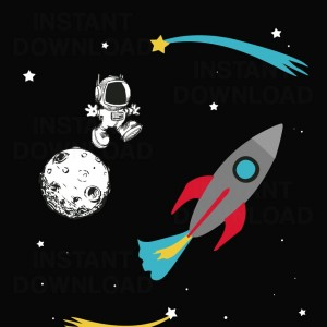 Cartoon man on the moon, Kids Space Graphic Vector, Room decoration, boys room clip art, 09860