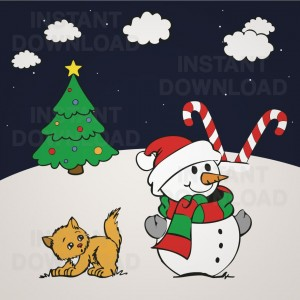 Christmas Snowman and Kitten Vector, Christmas Snowman Clipart, Christmas Snowman, 09857
